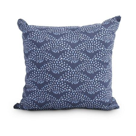 Fan Dance 20 Inch Blue Geometric Print Decorative Outdoor Throw Pillow (Print Outdoor Throw Pillows)