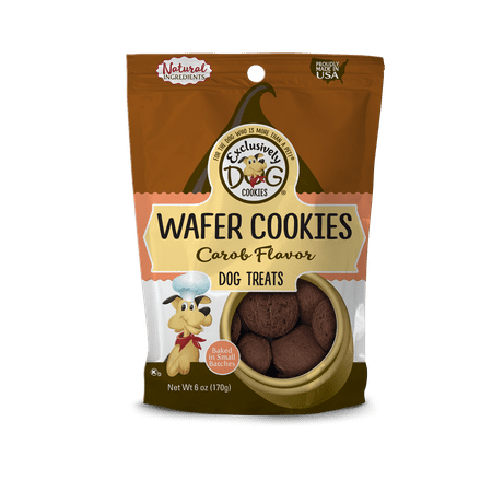 Exclusively Dog Cookies Carob Flavor Wafer Cookies Dog Treats, 8 (Dog House Cookie)