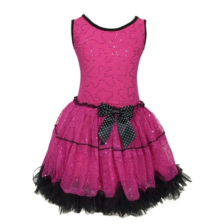 Calla Collection Girls Fuchsia Small Sequin Mesh Halloween Dress (Katherine's Collection Halloween)