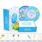 Shaped Cream Set Baby Hand And Foot Print Mud Baby Photo Frame Souvenir Baby'S Birthday Gift Box With Wheel An