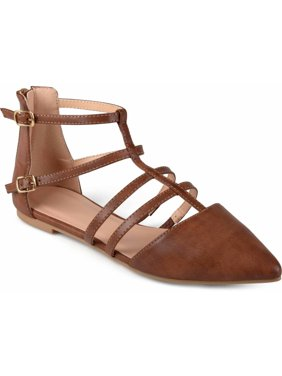 Womens Pointed Toe Strappy Gladiator Flats