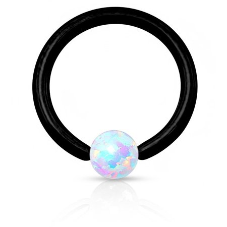 16g 8mm Synthetic Opal CBR Hoop Ring for Cartilage, Septum, Eyebrow & Lip Piercings