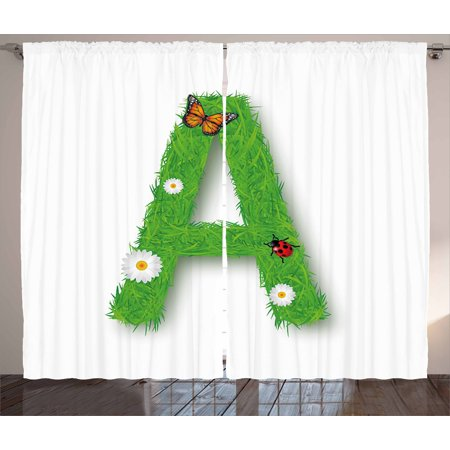 Element Spring - Letter A Curtains 2 Panels Set, Fresh My Name Style Capital A with Eco Spring Elements Animal Wings Blooms, Window Drapes for Living Room Bedroom, 108W X 108L Inches, Green Multicolor, by Ambesonne