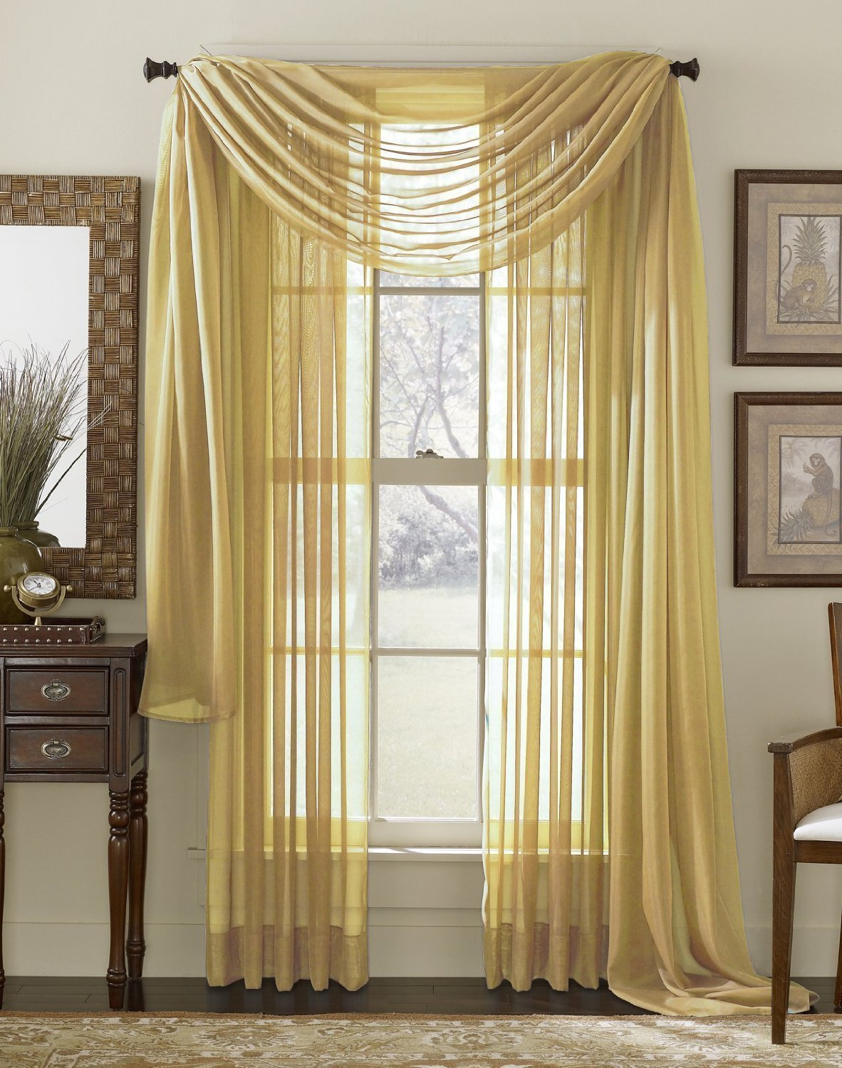 LuxuryDiscounts 2 Piece Solid Gold Elegant Sheer Curtains Fully Stitched Panels Window... by