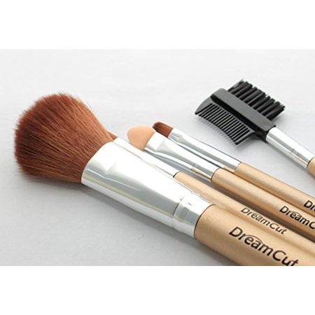 DreamCut 5 Piece Makeup Brush Set with Gold Pouch