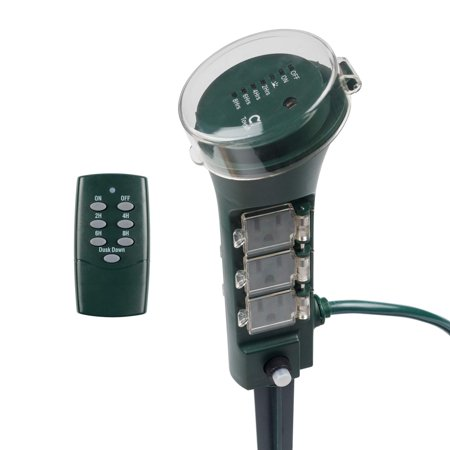 BN-LINK Outdoor Power Strip Yard Stake Timer(w Remote Control) with Photocell Dusk Till Dawn ()