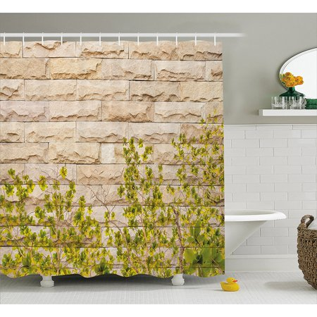 Rustic Home Decor Shower Curtain By Ground Creepy Climbing Wood Ivy Plant Leaf On Brick Wall Nature Invasion Fabric Bathroom Set With Hooks