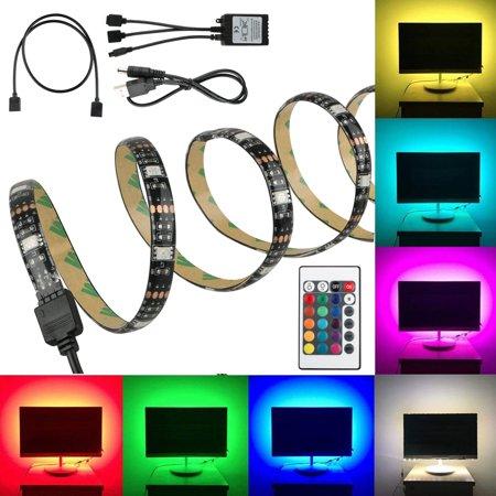 (4 Pack)EEEkit TV Computer Background Light USB Powered RGB 5050 LED Strip Lighting 50cm with 24 Keys IR remote controller