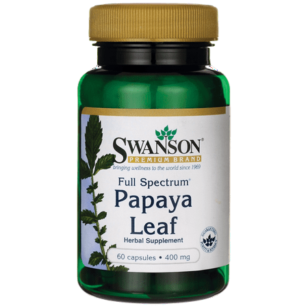 - Swanson Full Spectrum Papaya Leaf Capsules, 400 mg, 60 Ct
