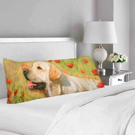 GCKG Yellow Labrador Poppy Field Spring Flower Body Pillow Covers Case Protector 20x60 inches - image 1 of 2