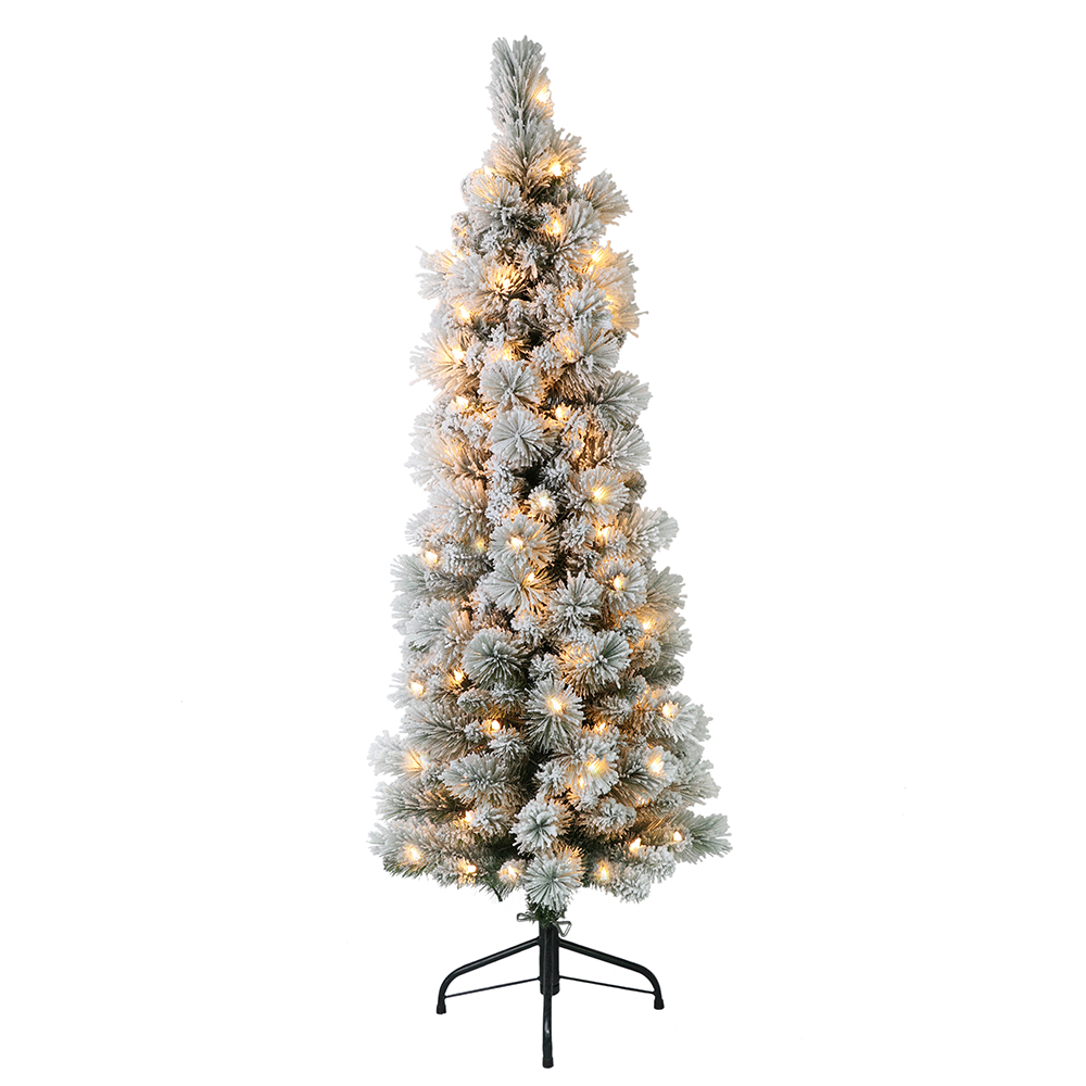 12 Ft Flocked Christmas Tree: Puleo International 4.5 Ft. Pre-Lit Flocked Portland Pine