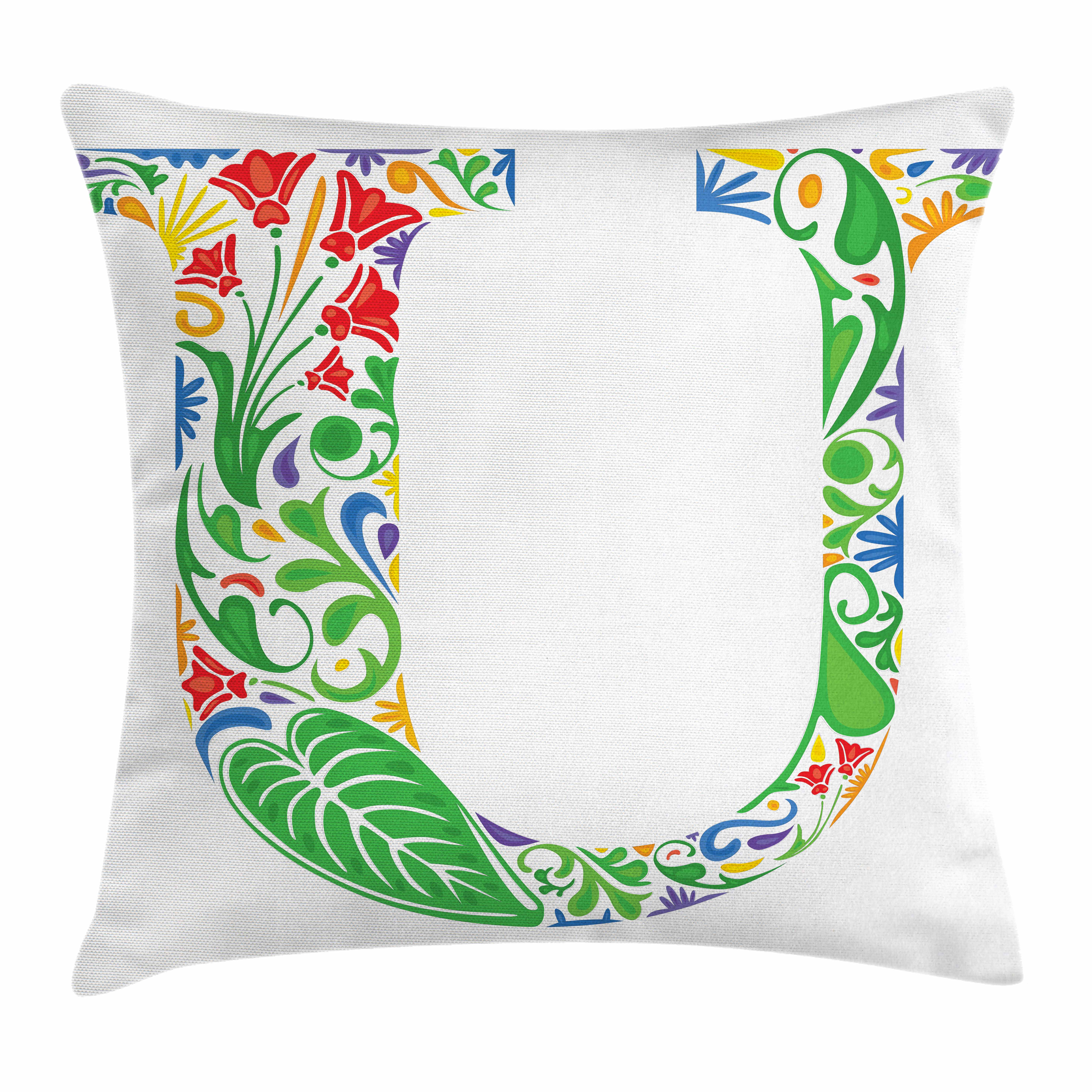Letter U Throw Pillow Cushion Cover Curvy Floral Elements With U