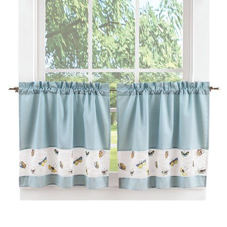 Light Blue Sateen Rod-Pocket Top Butterfly Cafe Curtains, 30