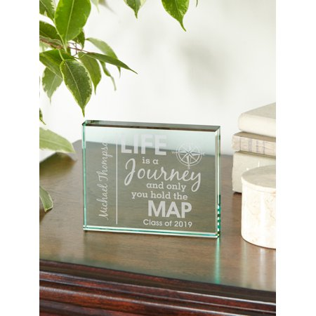 Personalized Life Is A Journey Graduation Glass Block