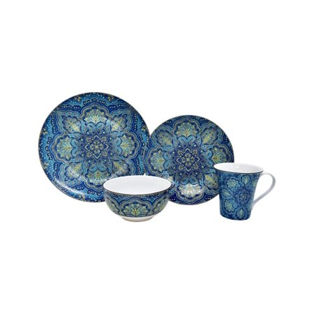 222 Fifth Agustina Opulent Blue 16 Piece Porcelain Dinnerware Set, Service for 4 222 Fifth China