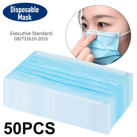 50PCS Mask Face Mask Disposable Mask Non-Woven Masks 3-Layer Comfortable Anti-dust Mouth Face Mask Blue - image 4 of 6