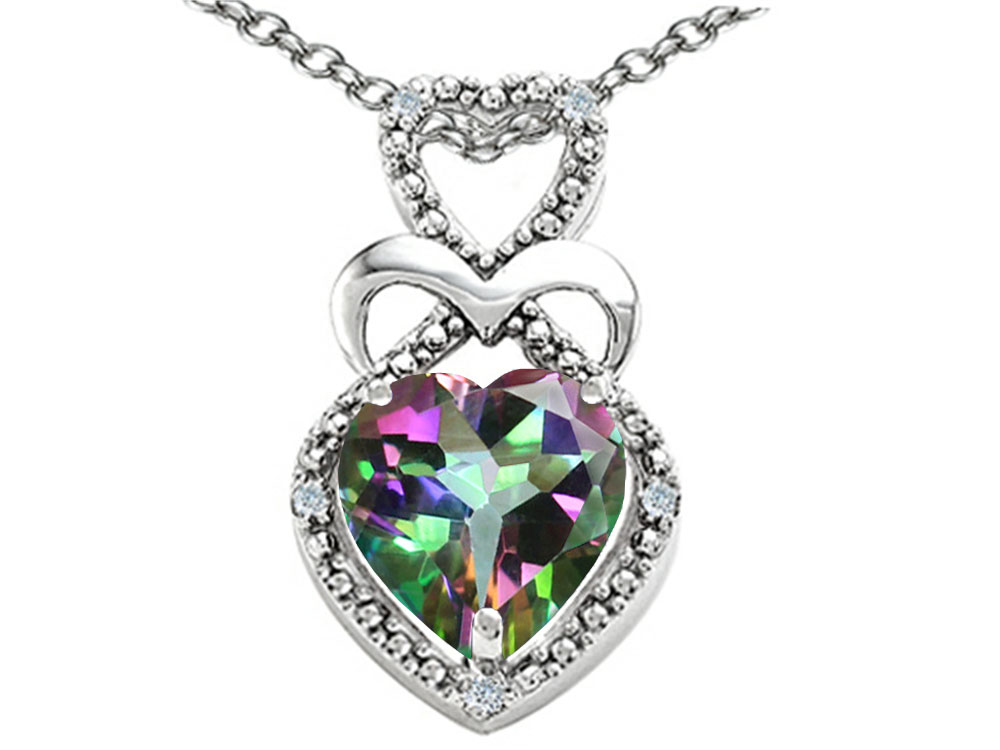 Tommaso Design Heart Shape 8 mm Mystic Rainbow Topaz Pendant Necklace by