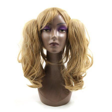 Blonde Synthetic Long Curly Cosplay Wig Dual Ponytails Party Hair w/ Wigs Cap - Curly Blond Wig