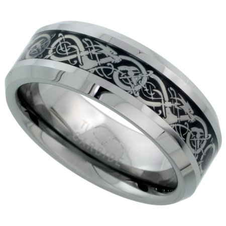 8mm Tungsten 900 Wedding Ring Inlaid Celtic Dragon Pattern Beveled Edges Comfort fit,, sizes 7 - 14