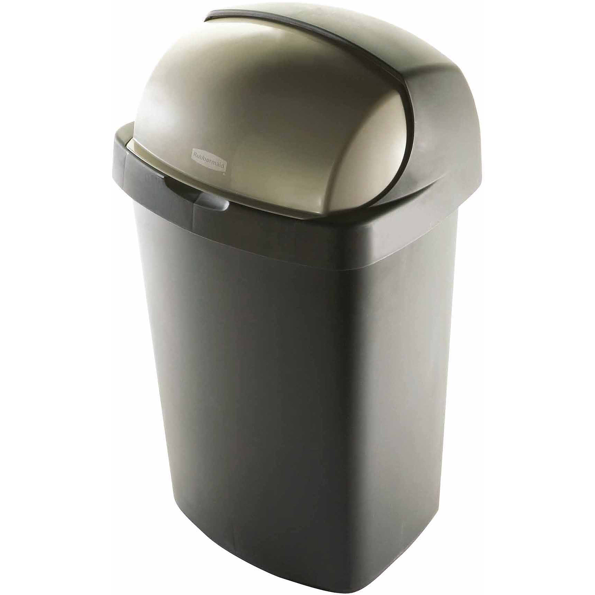 Waste Basket rubbermaid 13-gallon roll top wastebasket, bronze - walmart