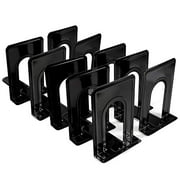 Metal Bookends, Book Ends for Office Nonskid Heavy Duty Book Ends for Shelves Black 6.69 x 4.9 x 4.3in, 5 Pair/10 Piece