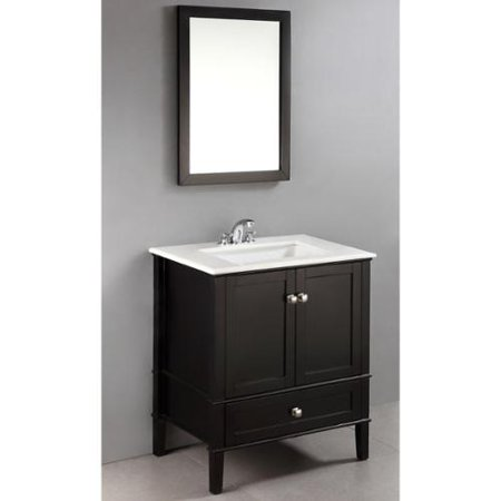 Wyndenhall Windham Black 30 Inch 2 Door Bath Vanity Set With Bottom Drawer And