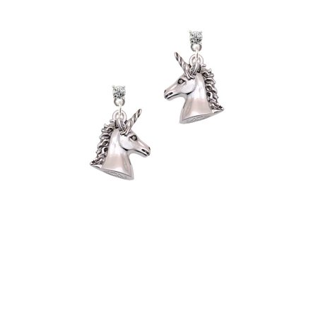 Silvertone 3-D Unicorn Head - Clear Crystal Post Earrings