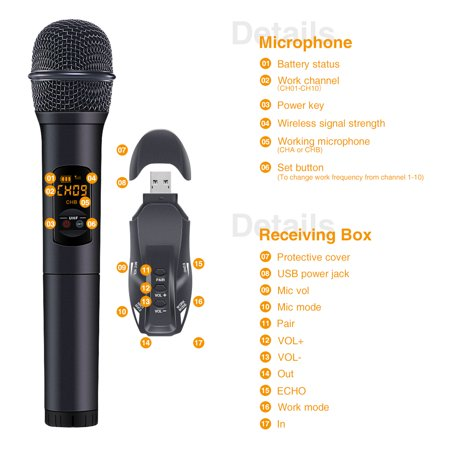 2 Pack Wireless Microphone Set, 10 Channel UHF Handheld HiFi Wireless Microphones Karaoke Receiver Dynamic Microphones for Wedding Speech Conference Karaoke Party - image 11 de 12