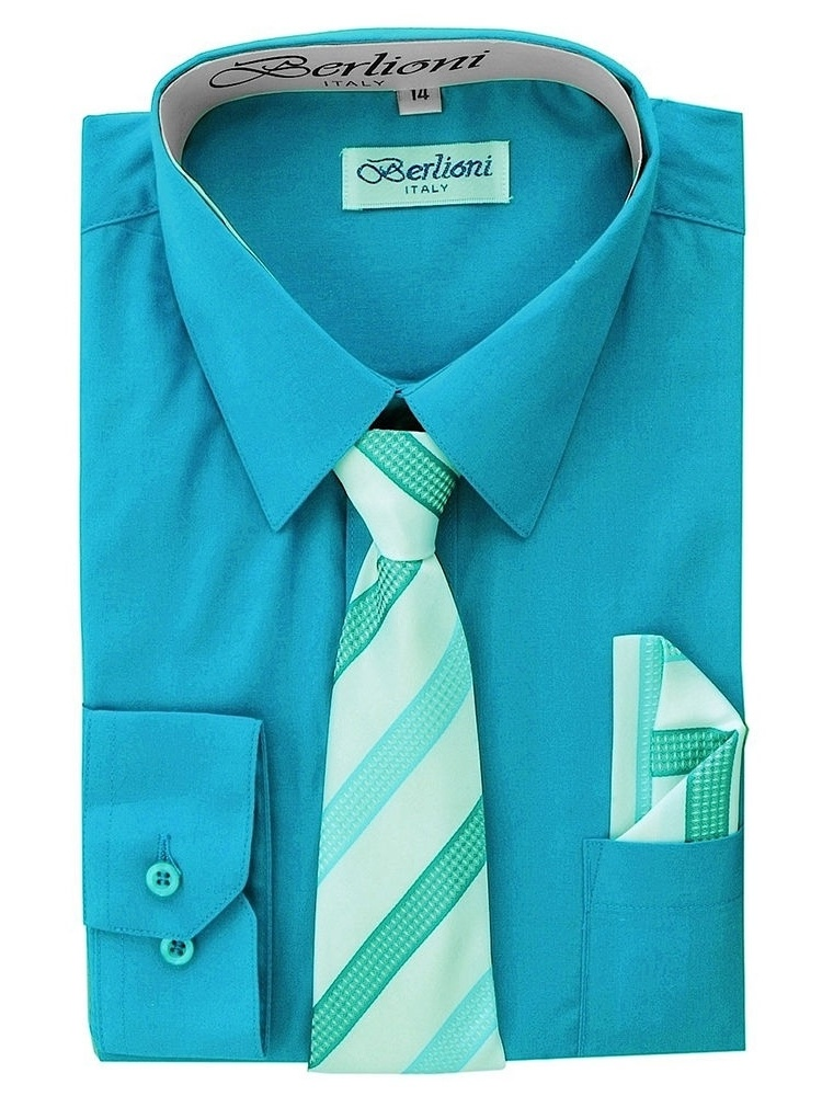 Berlioni Kids Boys Long Sleeve Dress Shirt With Tie and Hanky  Turquoise