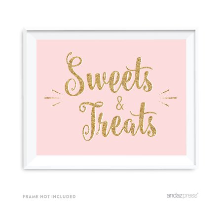 Blush Pink, White, Gold Glitter Party Collection, 8.5x11-inch Party Sign, Sweets & Treats, 1-Pack - Small Pink Sweets