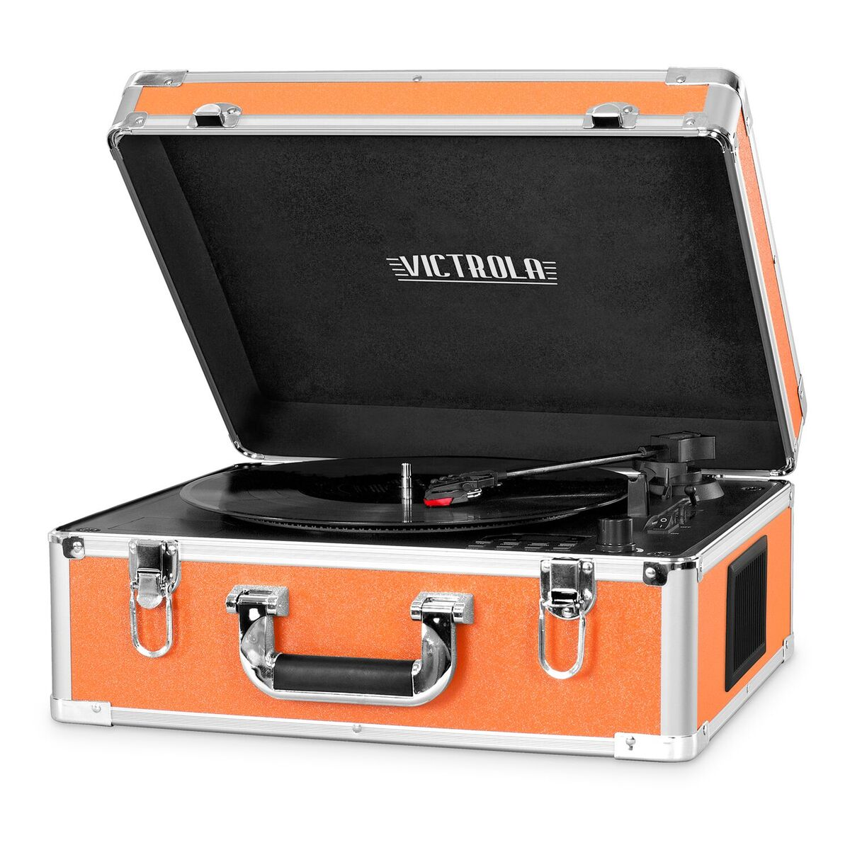 Victrola Full-size Suitcase Record Player with CD Player and Bluetooth, Orange