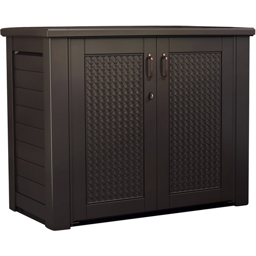 Rubbermaid Basketweave Patio Cabinet, Dark Teak