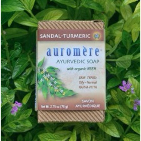 Sandal Turmeric Soap Auromere Ayurvedic Products 2.75 oz. Bar Soap