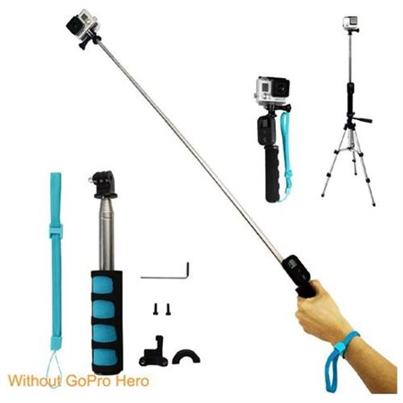Handheld Remote Pole Selfie Stick Extendable Telescopic Monopod for GoPro Hero 4 3+ 3 21