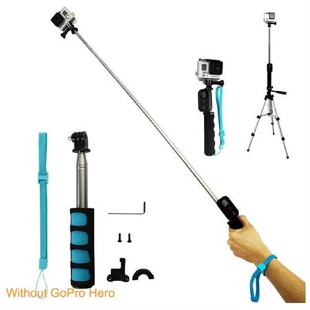 handheld remote pole selfie stick extendable telescopic monopod for gopro her. Black Bedroom Furniture Sets. Home Design Ideas
