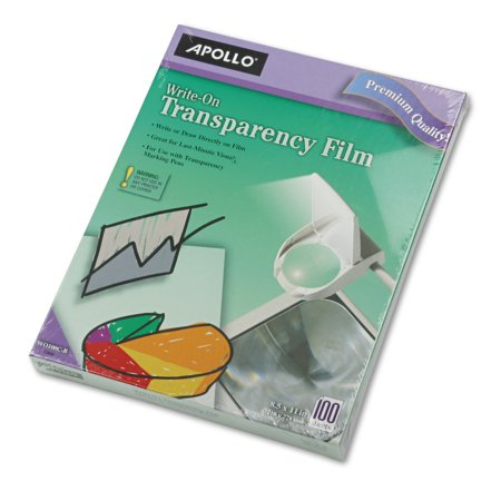 Overhead Copier Transparency Film - Apollo Write-On Transparency Film, Letter, Clear, 100/Box