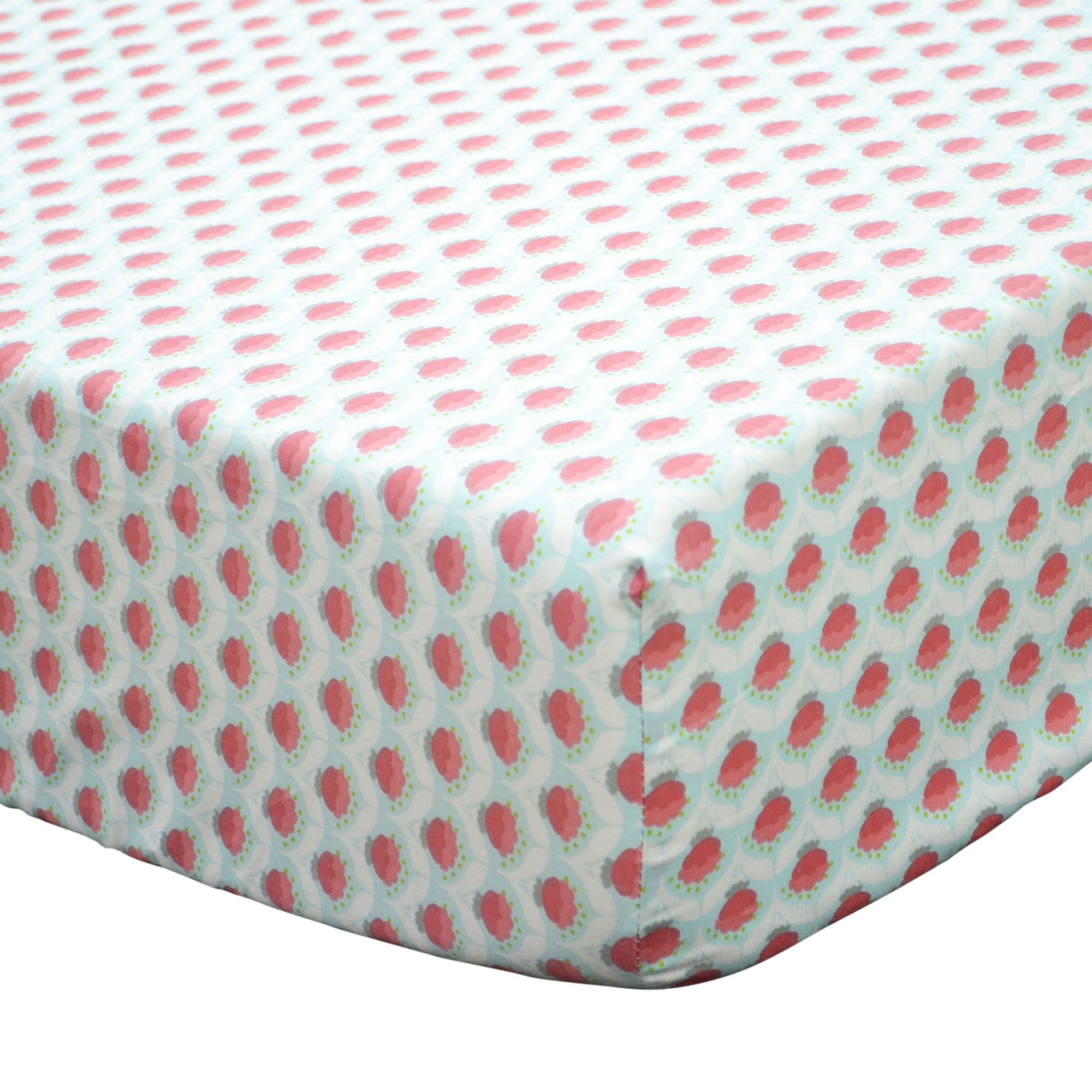 The Peanut Shell Baby Girl Crib Sheet - Coral Pink Floral - Gia Collection