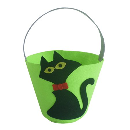 Halloween Superstitions Black Cats (Halloween Felt Fabric Gift Bag Trick or Treat Candy Bucket with Handle Halloween Party Costumes Supplies Decorations--Black)