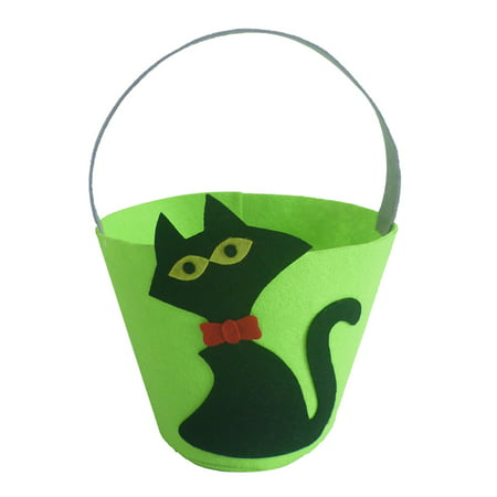 Halloween Felt Fabric Gift Bag Trick or Treat Candy Bucket with Handle Halloween Party Costumes Supplies Decorations--Black Cat