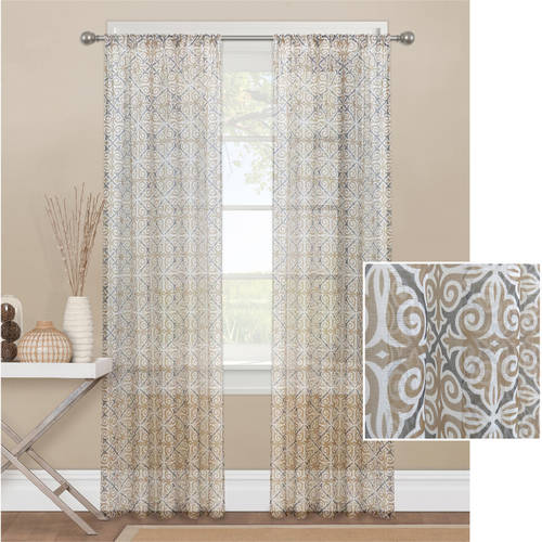 Mainstays Tile Scroll Sheer Window Curtain Panel
