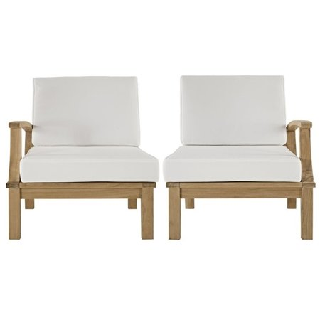 Modway Marina 2 Piece Outdoor Patio Teak Sofa Set in Natural White