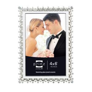 4x6 Elegance Silverplate w/ White Enamel Metal Frame
