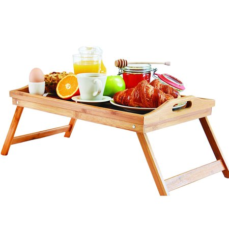 UBesGoo Wooden Bamboo Food Serving Breakfast Tea Coffee in Bed Lap Tray Folding (Bamboo Serving Tray Set)