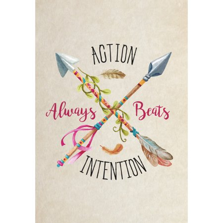 Aluminum Metal Action Always Beats Intention Quote Colorful Arrows Ribbons Vines Feathers Picture Motivational Inspira
