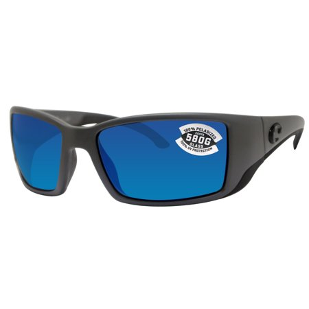 - Costa Del Mar Blackfin Matte Gray Frame Blue Mirror 580G Glass Polarized Lens