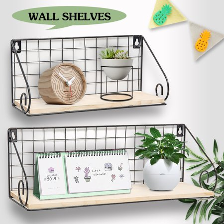 Kingso Wood Wall Floating Shelves Wall Mounted Rustic Wood Wall Storage Shelf Decorative Shelves For Bedroom Living Room Bathroom Kitchen Office