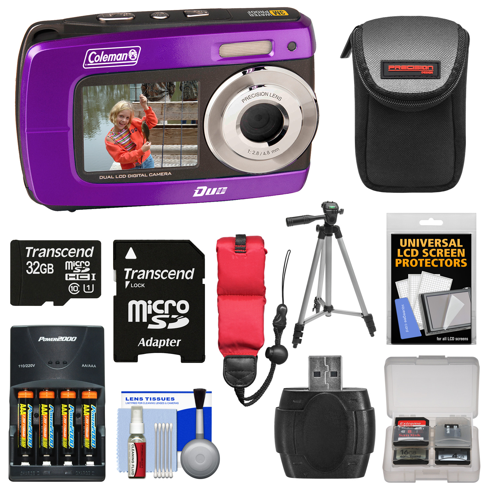 Coleman Duo2 2V8WP Dual Screen Shock & Waterproof Digital Camera (Purple) with 32GB Card + Batteries & Charger + Case + Tripod + Floating Strap + Kit