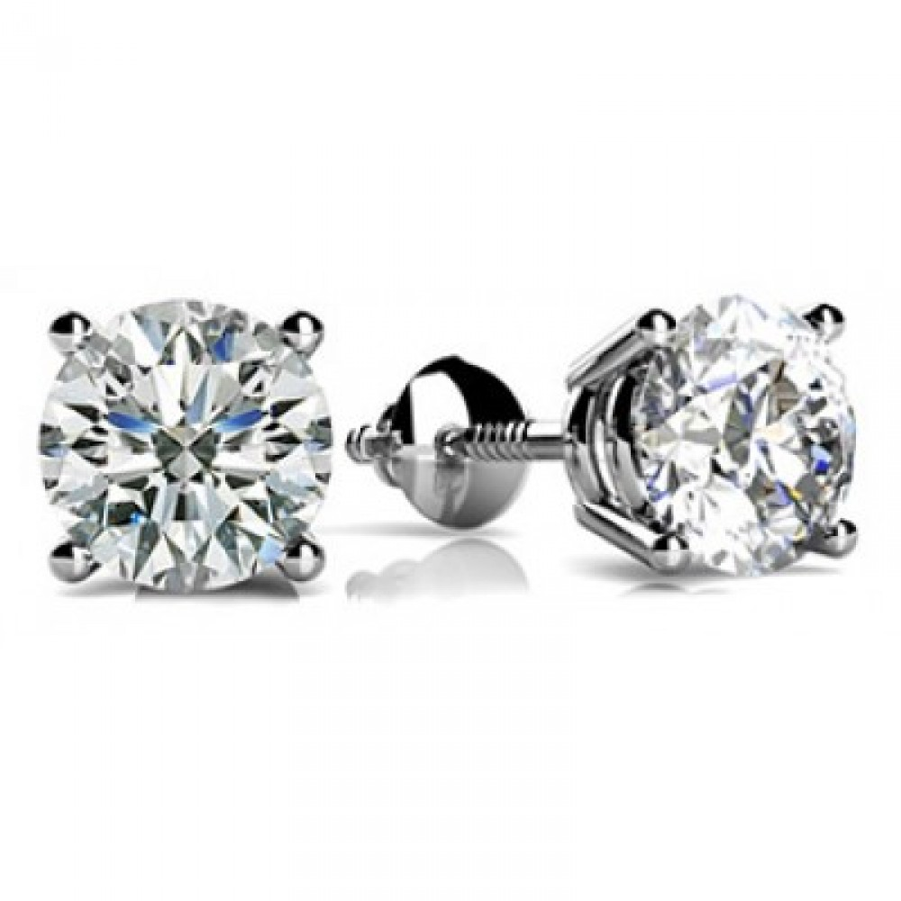 1.09 Ct Size Round Cut Cubic Zirconia Stud Earrings in 14 Kt White Gold Screw Back