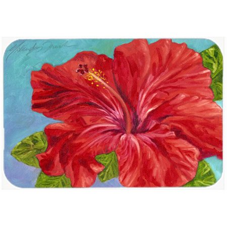 Caroline's Treasures Red Hibiscus Glass Cutting Board