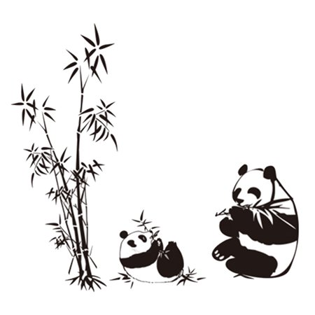 Bamboo Wall Sticker - Unique Bargains PVC Panda Bamboo Pattern Removable Wall Sticker Art Mural Decal Wallpaper